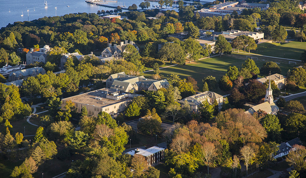Aerial photo of the Connecticut College campus